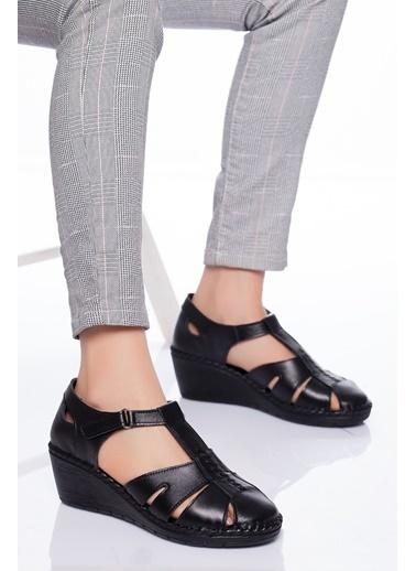 Derithy Derithy-Hakiki Deri Sandalet-Taba Siyah